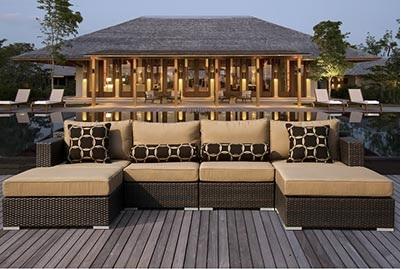 outdoor espresso brown rattan furniture rentals