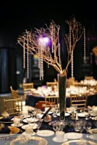 gold chairs navy linen