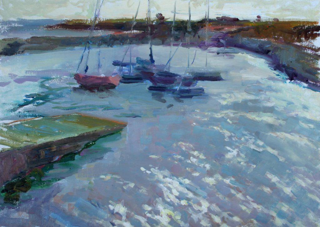 Boats in Doelan, Bretagne. oil on canvas.