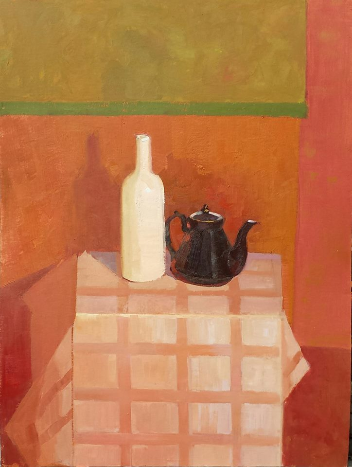 Red Still Life. oil on board.