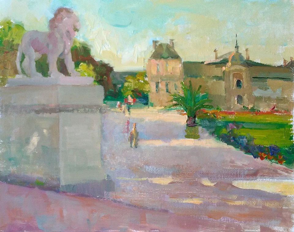 Luxembourg Gardens Promenade. oil on canvas