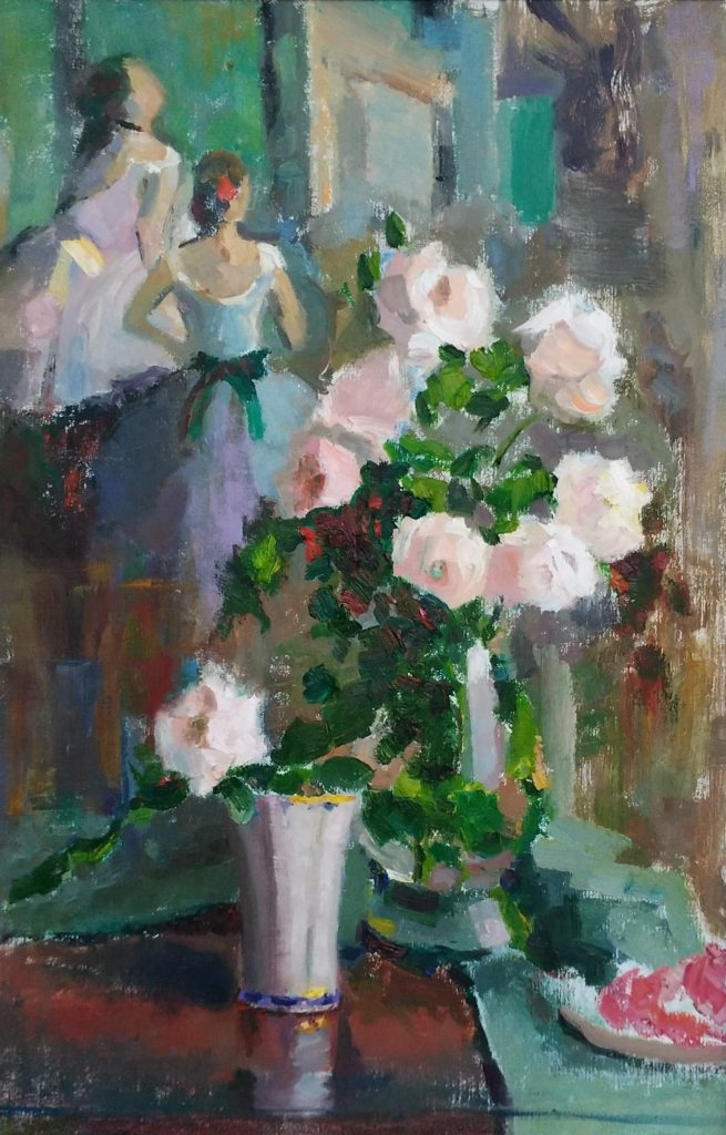 White Roses with Degas Ballerinas, oil on canvas.