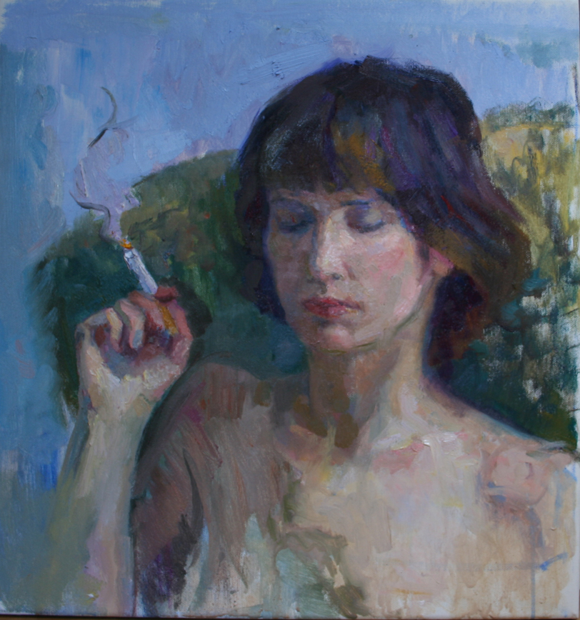 Lady Smoking. Oil on canvas.