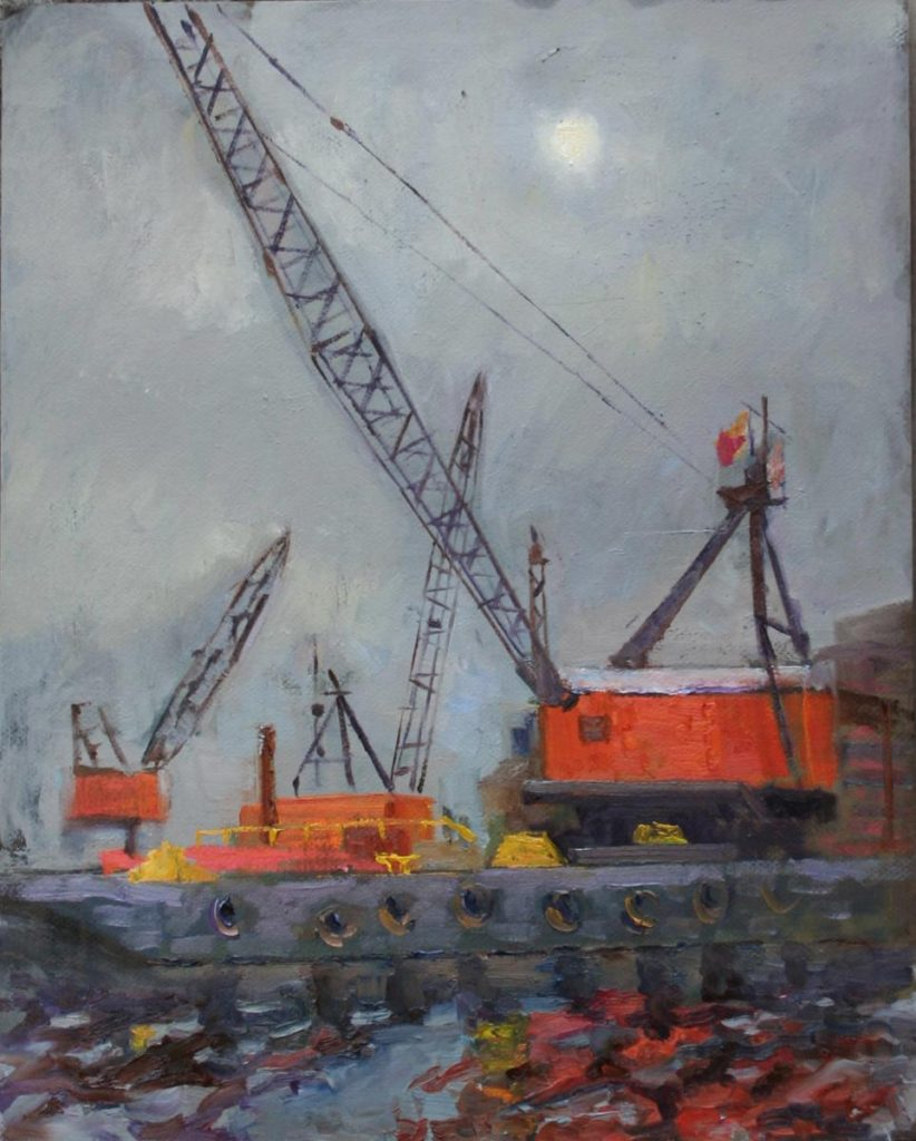 Construction at Fells Point Harbor. oil on canvas