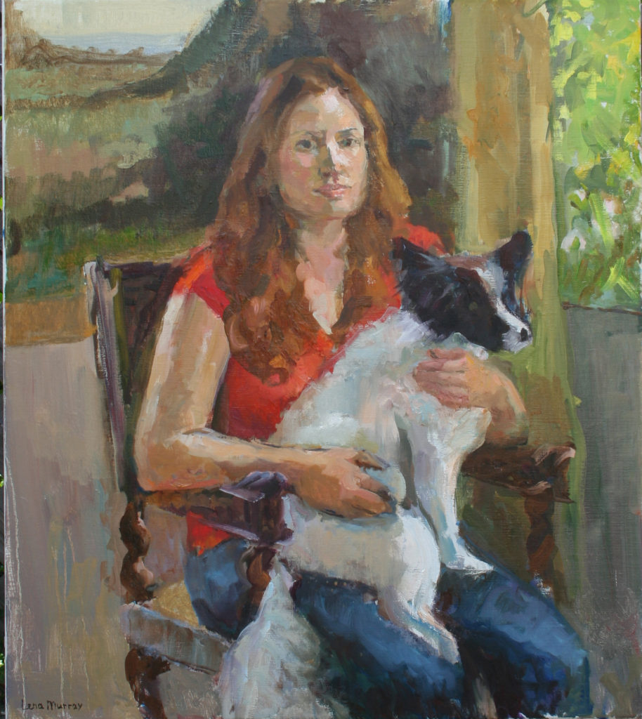 Lady with a Dog. Oil on Canvas.