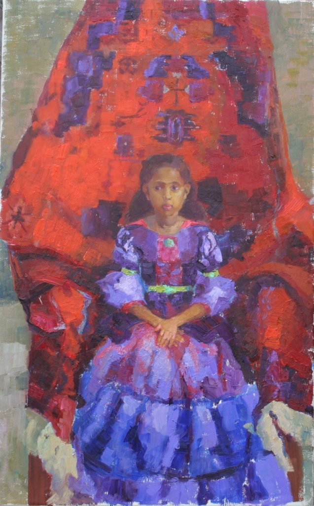 Girl with Oriental Carpet. oil on canvas.