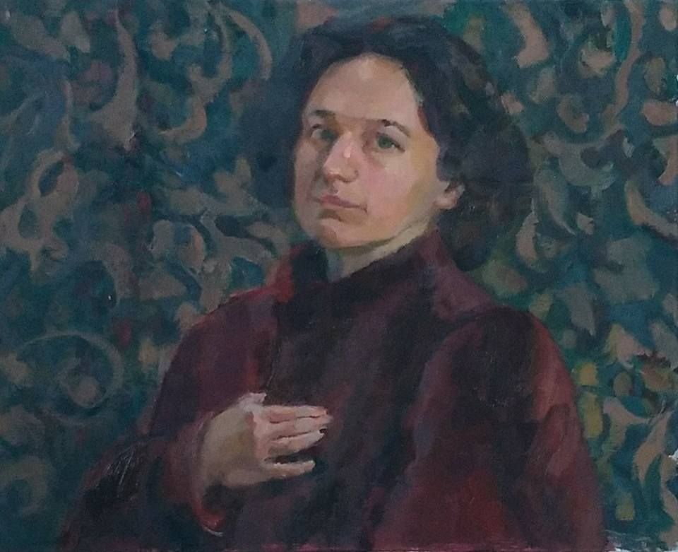 Lena Murray. Self portrait with Fur coat, oil on canvas, 16 x 20