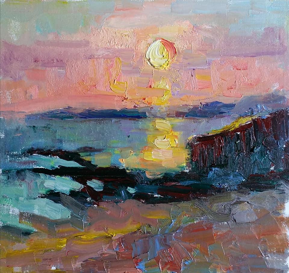 Sunset over Guidel, Bretagne. oil on canvas.
