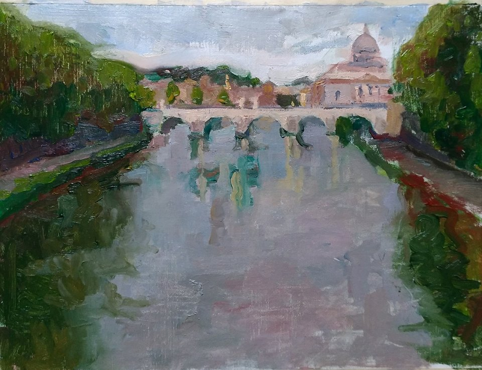 View of Tevere on a Gray Day. oil on canvas