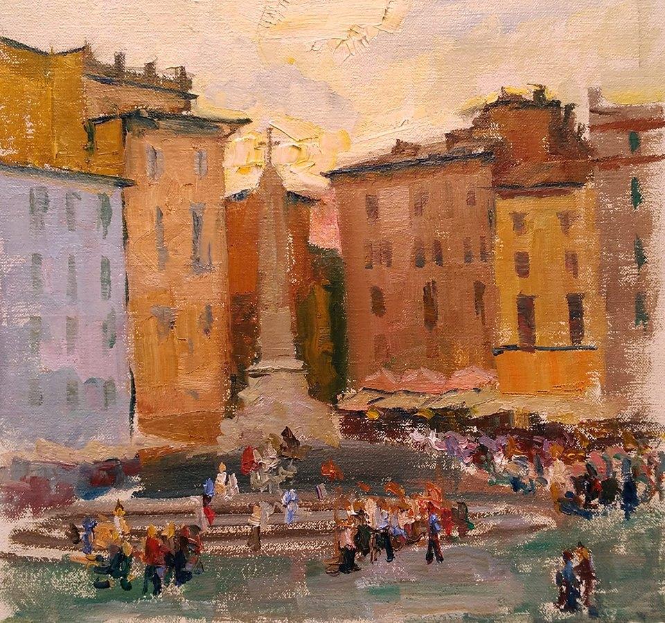 Piazza della Rotonda near the Pantheon, Rome. oil on canvas