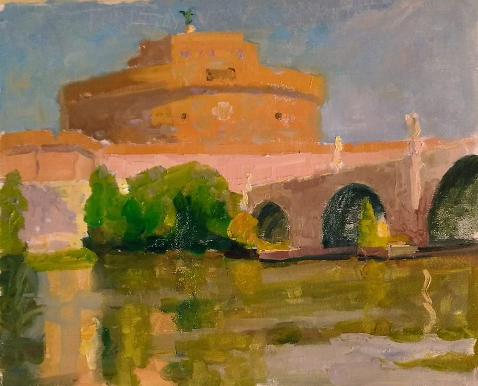 View of St. Angelo in Rome, oil on canvas.