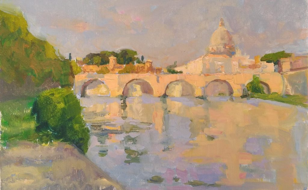 View of the Tevere, morning, Rome. oil on canvas
