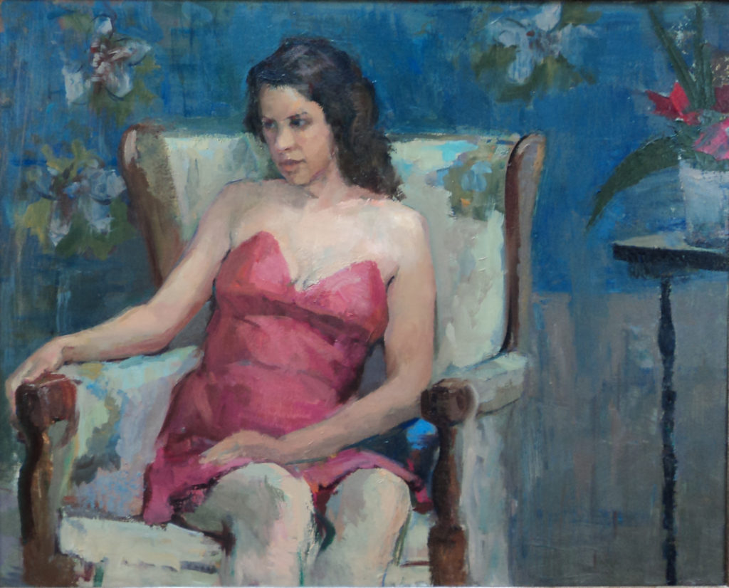 Lady in a chair, oil on canvas.