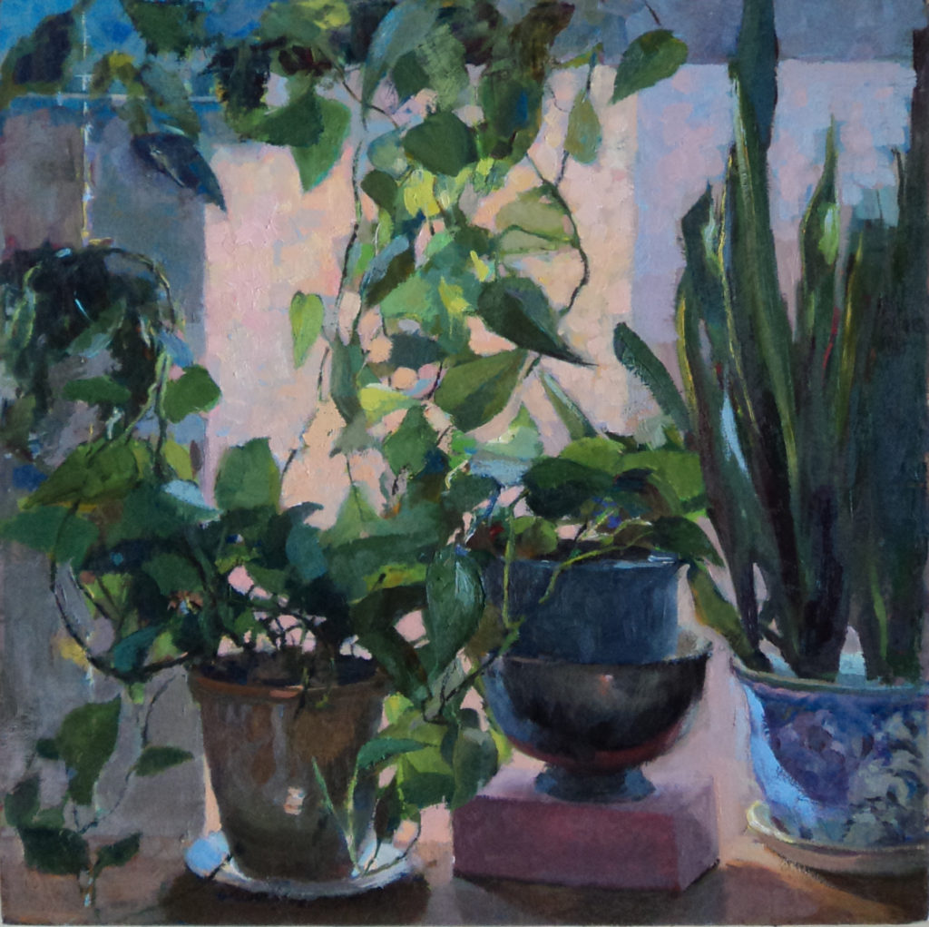 House Plants against Window. oi on canvas.