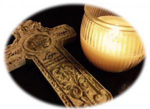 Christian candle cross obit