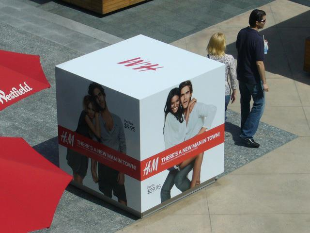 H&M Four Sided Ad Cube Aerial