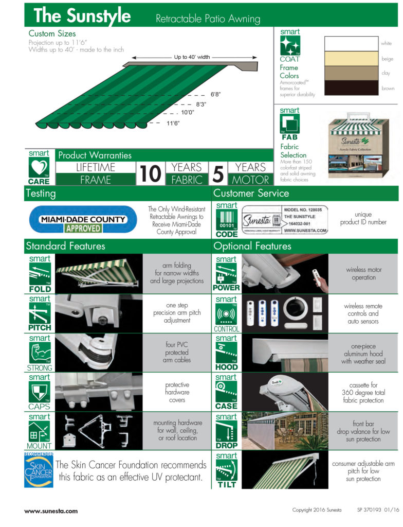 The Sunstyle retractable awning information