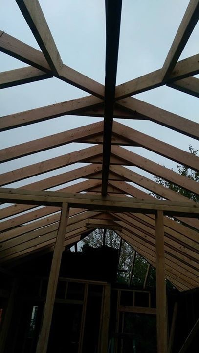 As we mentioned above, fire can create intense smoke damage and ruin the integrity of roofs. That was true for the Avondale Project. This image shows our newly erected forms that we created to hold our new roof These were created by hand by our carpentry division.