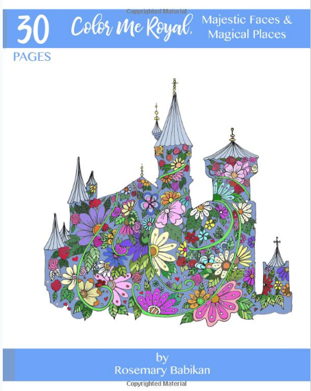 Adult Coloring Book Cover, Color Me Royal, Majestic Faces and Magical Places. 30 Adult Coloring Pages, beautifully hand-drawn. #adultcoloringpages #adultcoloringbooks #coloringforadults #royaltycoloringbooks