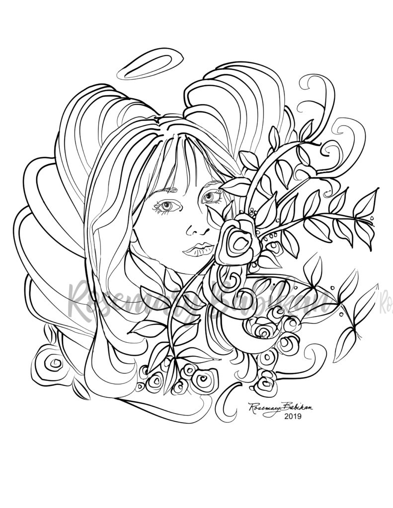 Adult Coloring Angel 001