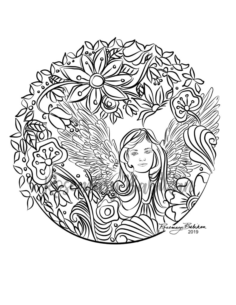 Angel with Flowers Mandala