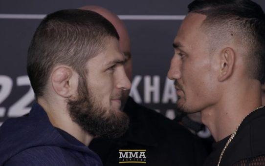 Khabib Nurmagomedov vs. Max Holloway UFC 223 Media Day Staredown – MMA Fighting