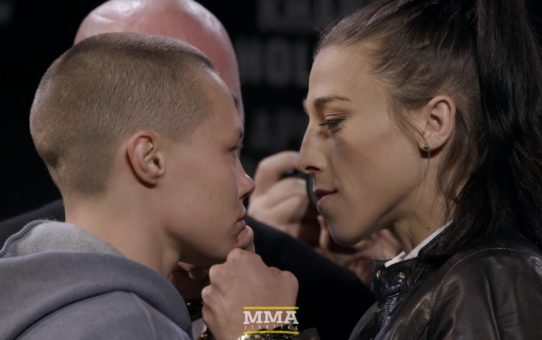 Rose Namajunas vs. Joanna Jedrzejczyk UFC 223 Staredown – MMA Fighting
