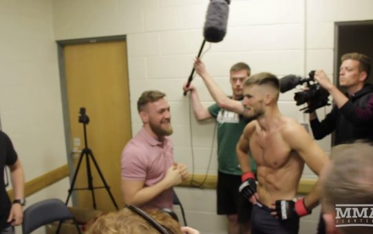 Conor McGregor Celebrates With Victorious Cian Cowley At Brave 13 Five Days Before Their Court Date