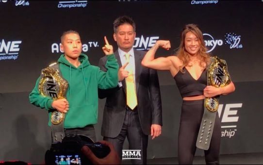 Angela Lee vs. Jignan Xiong ONE Championship: A New Era Press Conference Staredown- MMA Fighting