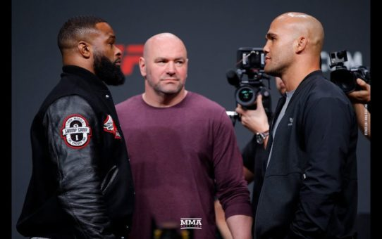 Tyron Woodley vs. Robbie Lawler UFC Press Conference Staredown – MMA Fighting