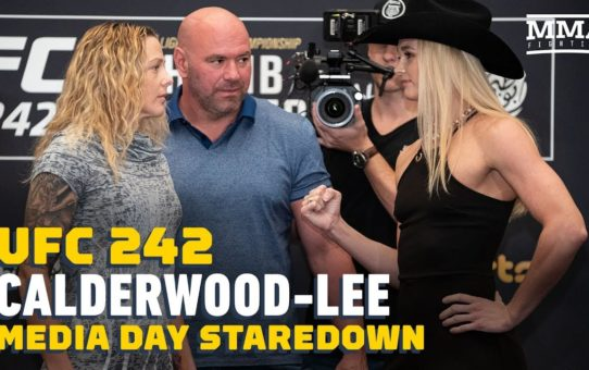 UFC 242: Joanne Calderwood vs. Andrea Lee Media Day Staredown – MMA Fighting