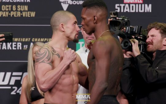 UFC 243: Robert Whittaker vs. Israel Adesanya Weigh-In Staredown – MMA Fighting