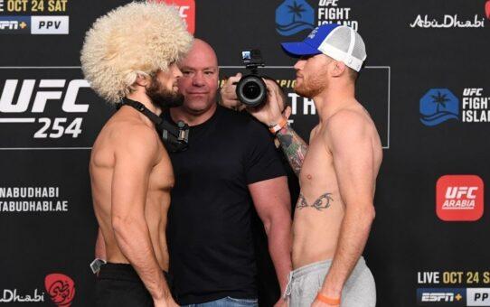 UFC 254: Khabib Nurmagomedov vs. Justin Gaethje Staredown – MMA Fighting