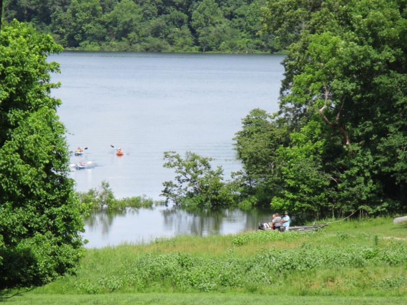 Kayaks returning to the cove