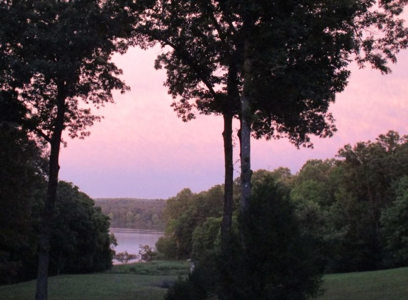 Pink sunrise over the lake at the cove