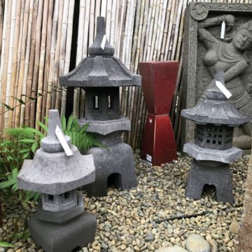 Japanese lanterns in display pagoda