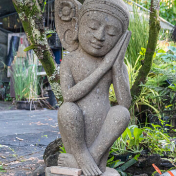 Primitive Garden Spirit Fairy Elf Statuary Andesite Greenstone Lava Stone Indonesia Hand Carved