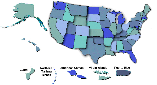 Map of US States and Territories