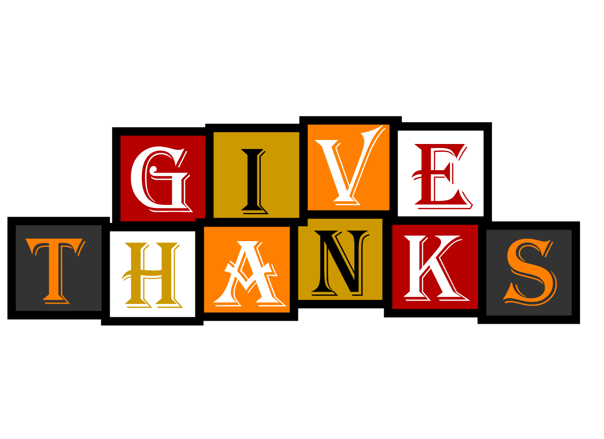 """Graphic that says """"Give Thanks"""""""