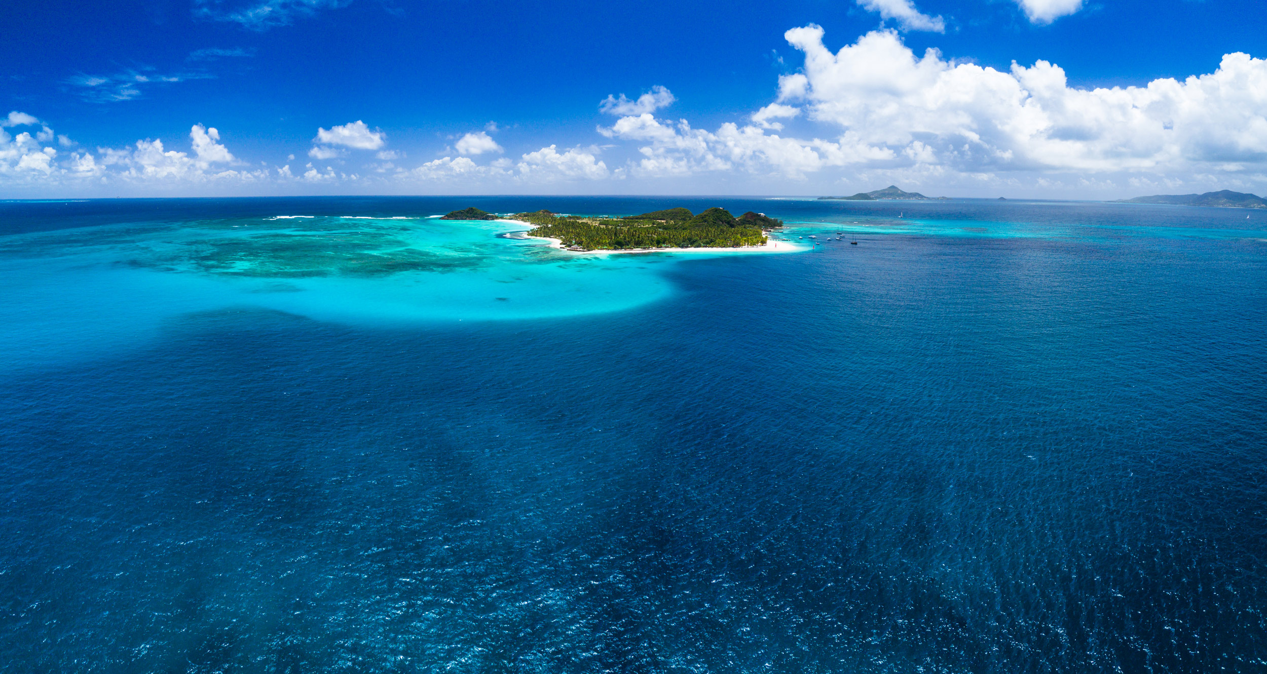 aerial shot of the tobago cays
