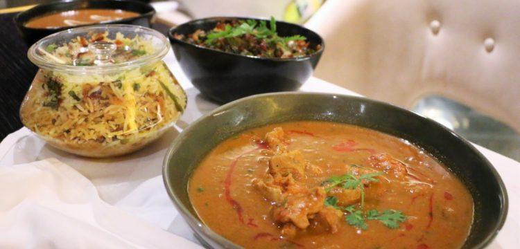 Biryani, chicken curry, bhindi do pyaza