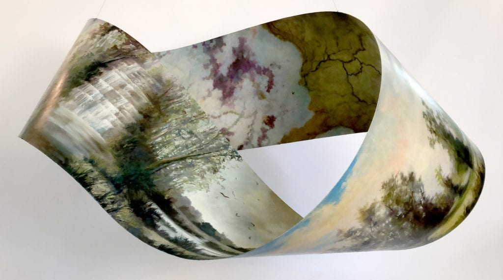 This is a 3-D painting on a metal mobius strip about the importance of the flow of water and our local watersheds.