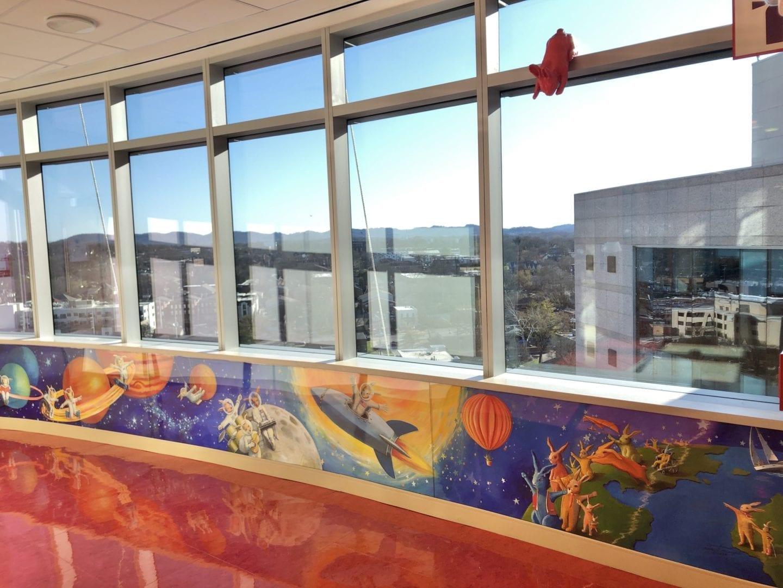 "Another view of ""Space Bunnies"" mural, Vanderbilt Children's Hospital, 11th floor, NIC unit. All art by Rachael McCampbell © 2020"