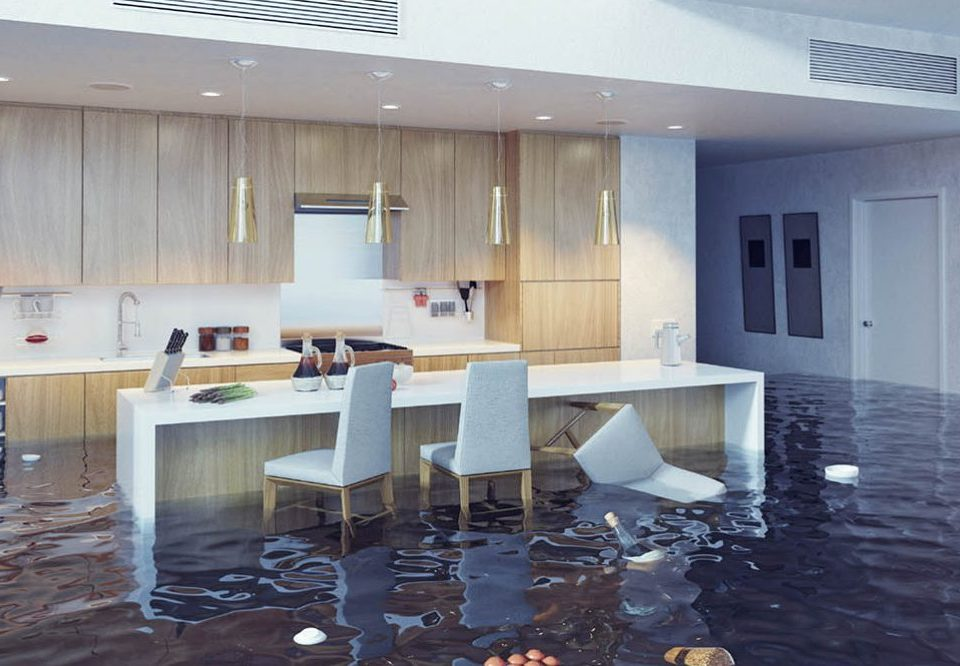 Kitchen with Flood Damage