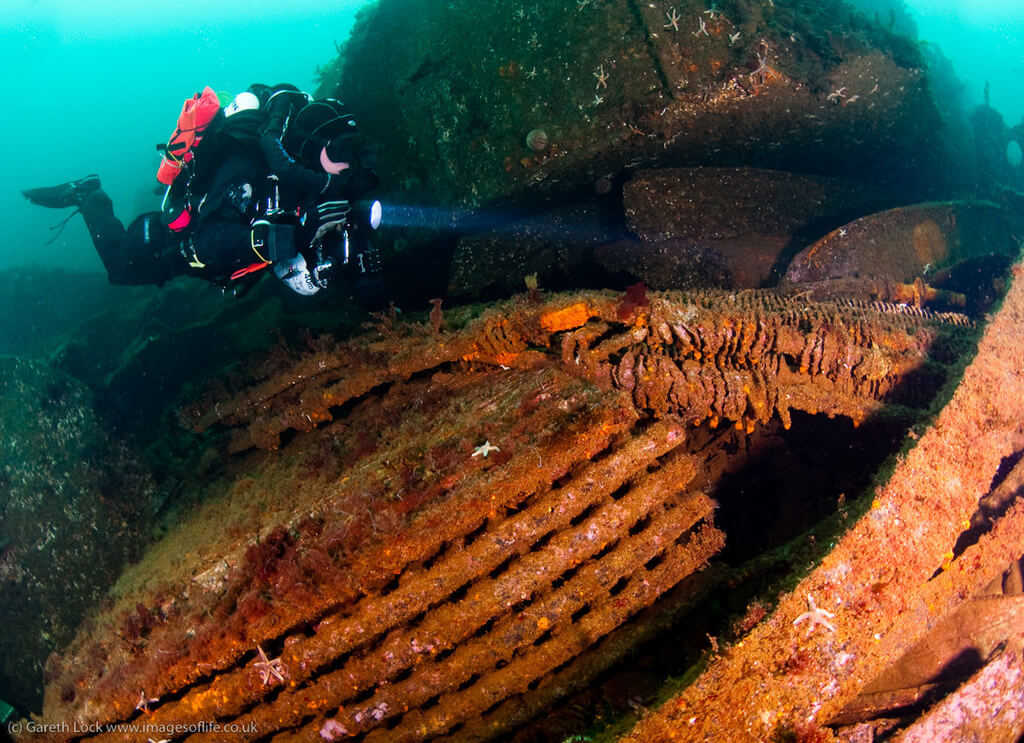 Diver on a wreck in the Shetland Islands