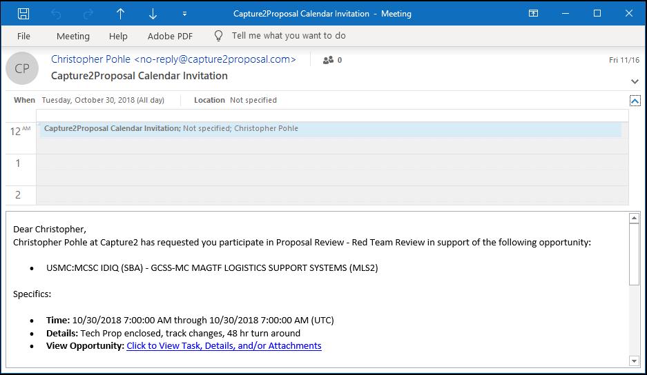 C2P Business Development, Capture, and Proposal Collaboration Calendar Invite