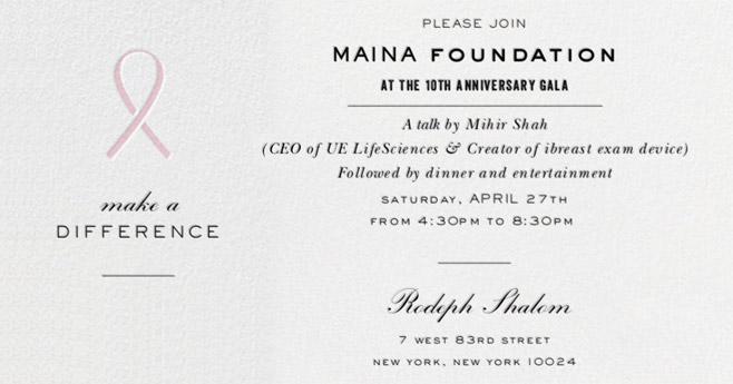 Maina Foundation Gala Invitation: Save the Date