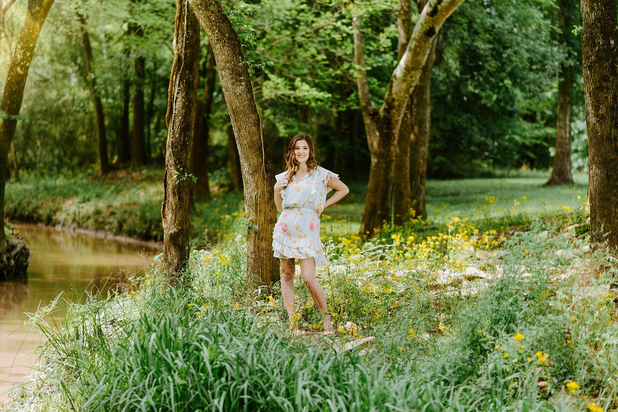 Senior session near woodsy creek