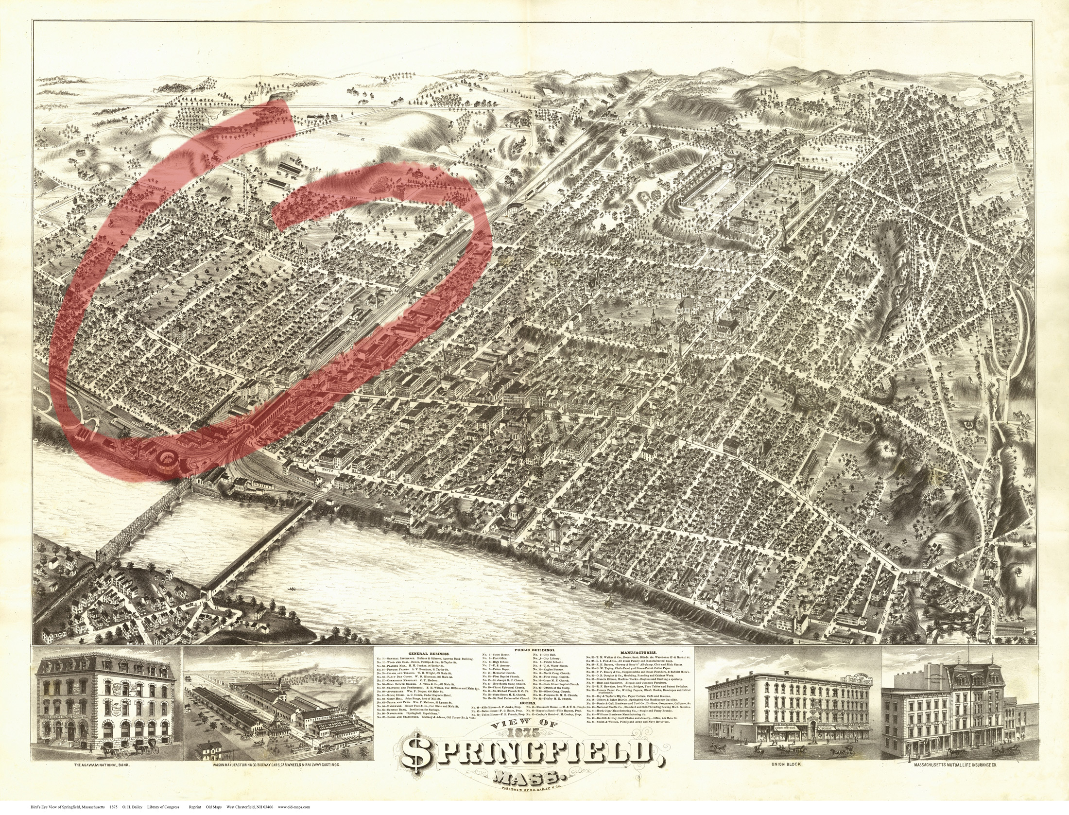 1875 Map of Springfield. The North End is circled. (Courtesy of Connecticut Valley Historical Society)