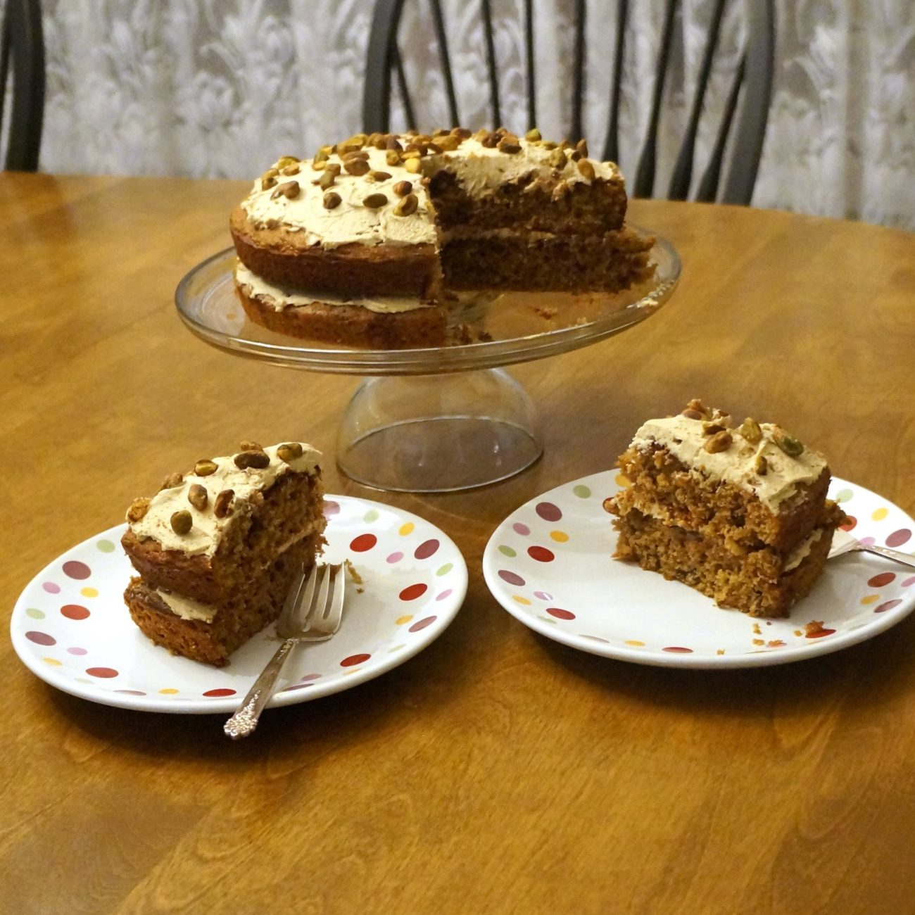 ESPRESSO AND CARDAMOM CAKE WITH PISTACHIOS